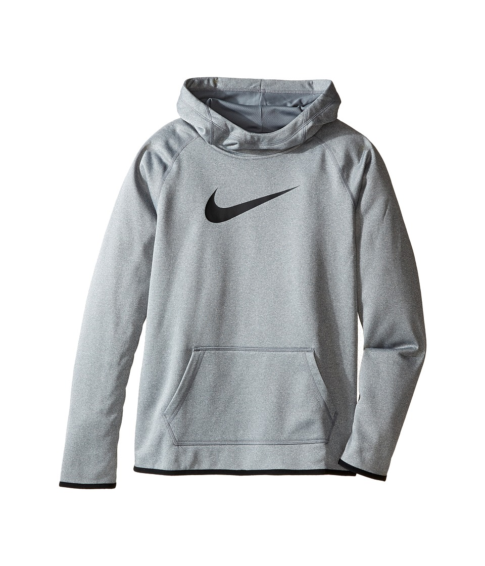 Nike Kids - Therma Training Hoodie (Little Kids/Big Kids) (Dark Grey Heather/Dark Grey Heather/Black) Girl's Sweatshirt