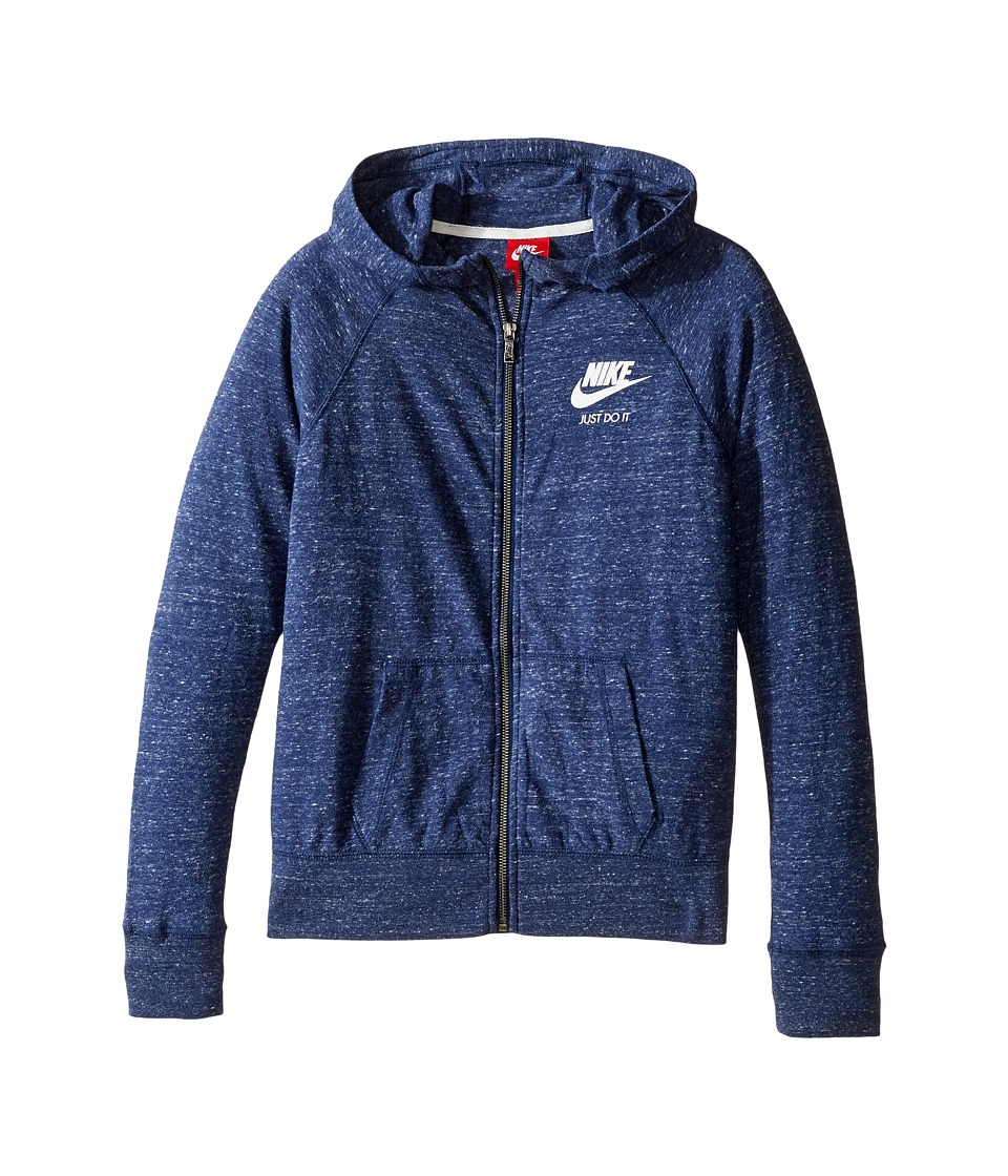 Nike Kids - Gym Vintage Full Zip Hoodie (Little Kids/Big Kids) (Midnight Navy/Sail) Girl's Sweatshirt