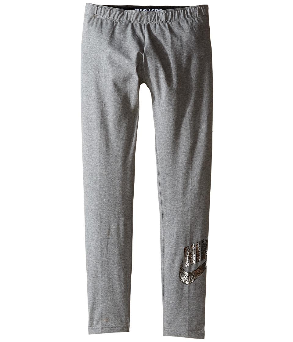 Nike Kids - Sportswear Leg-A-See Legging (Littke Kids/Big Kids) (Carbon Heather) Girl's Casual Pants