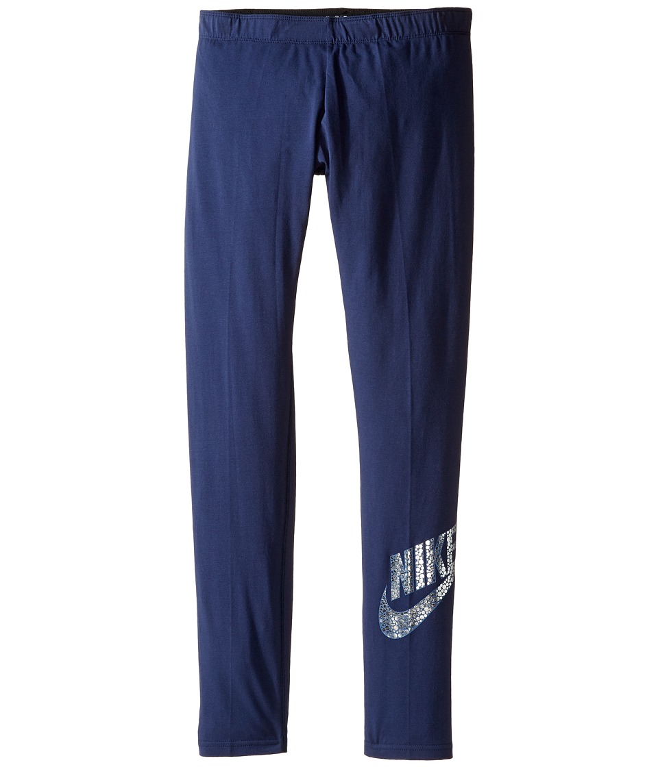 Nike Kids - Sportswear Leg-A-See Legging (Littke Kids/Big Kids) (Midnight Navy) Girl's Casual Pants