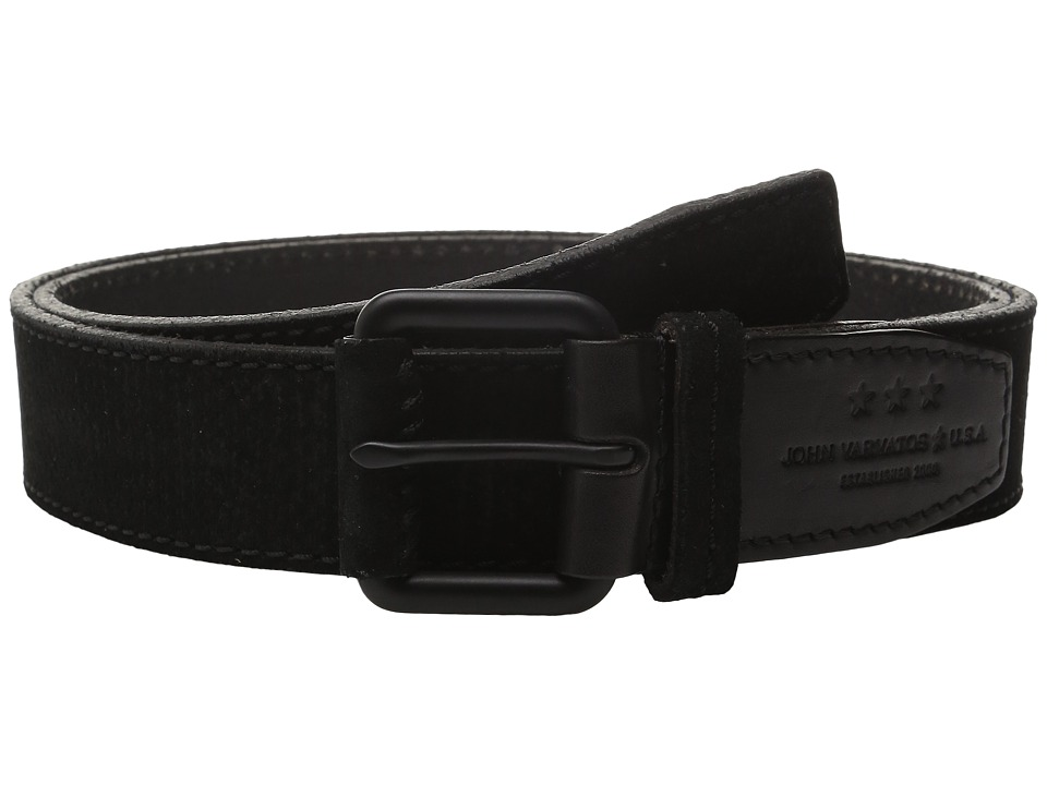 John Varvatos - 38mm Textured Suede Belt (Black) Men's Belts