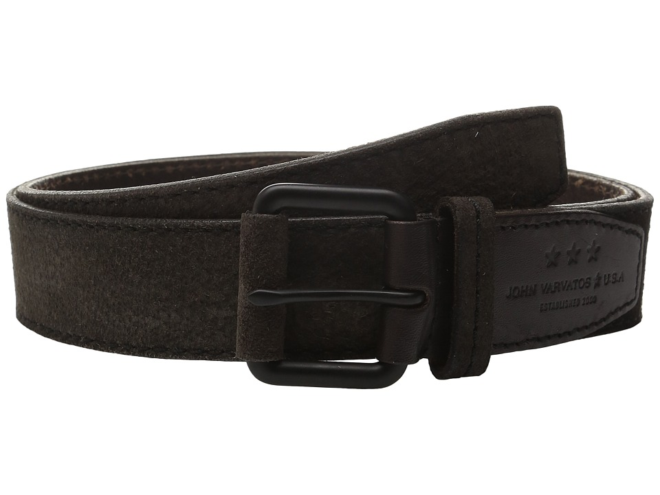 John Varvatos - 38mm Textured Suede Belt (Brown) Men's Belts
