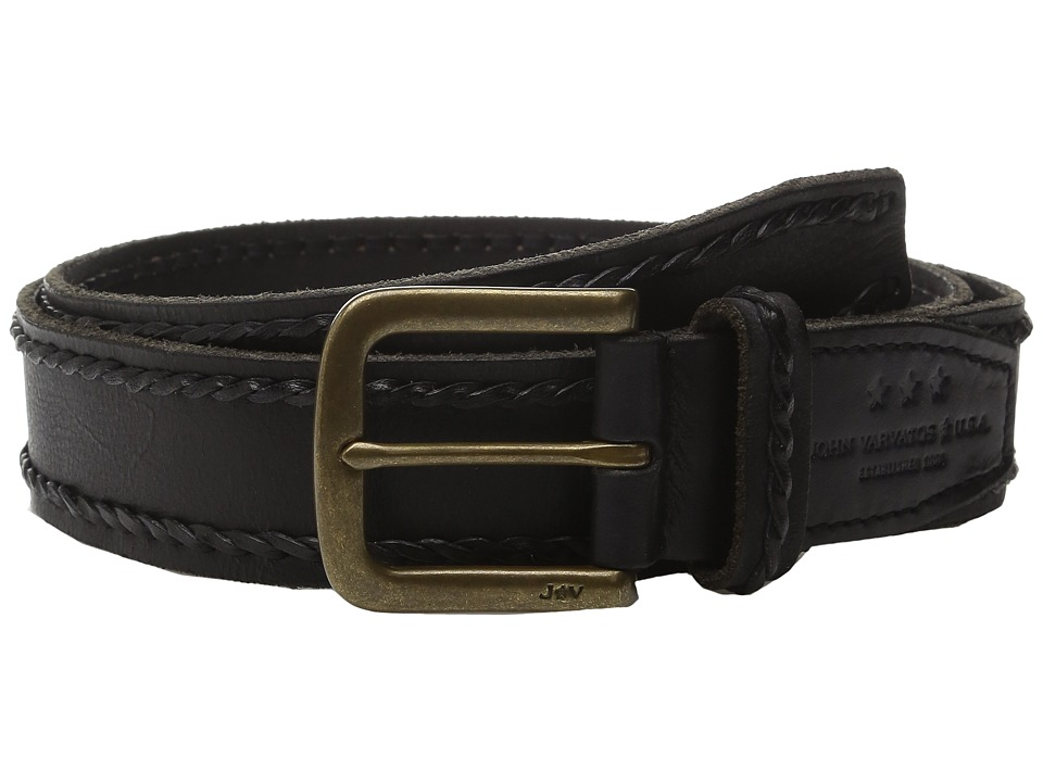 John Varvatos - 38mm Laced Edge Artisan Belt (Black) Men's Belts