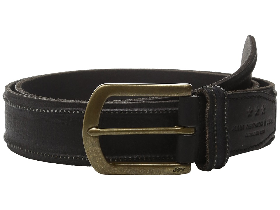John Varvatos - 40mm Studded Edge Belt w/ Harness Buckle (Black) Men's Belts