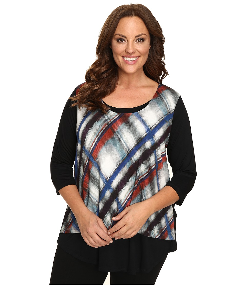 Karen Kane Plus - Plus Size 3/4 Sleeve Plaid Overlay Top (Plaid) Women's Blouse