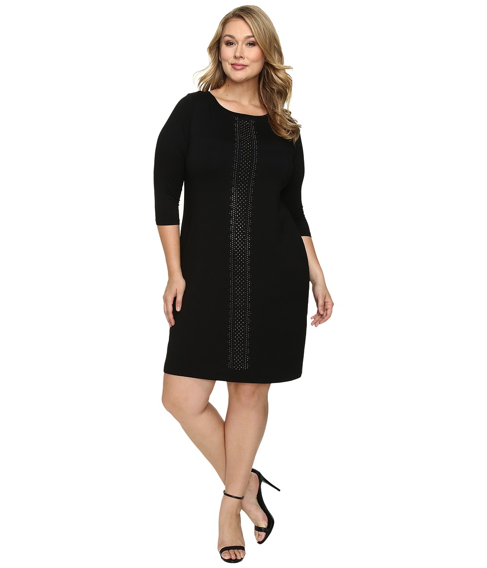 Karen Kane Plus - Plus Size Embellished Sheath Dress (Black) Women's Dress