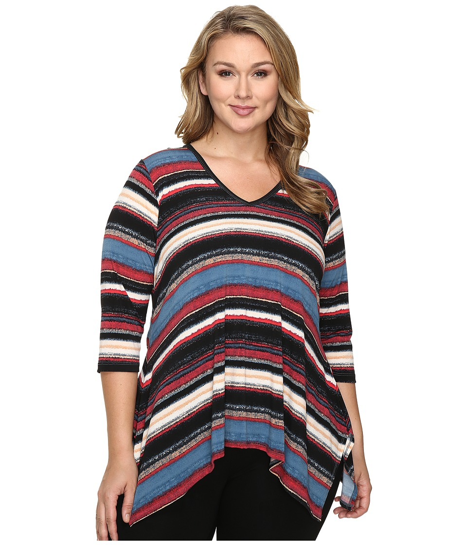 Karen Kane Plus - Plus Size Multi Stripe Handkerchief Top (Print) Women's Clothing