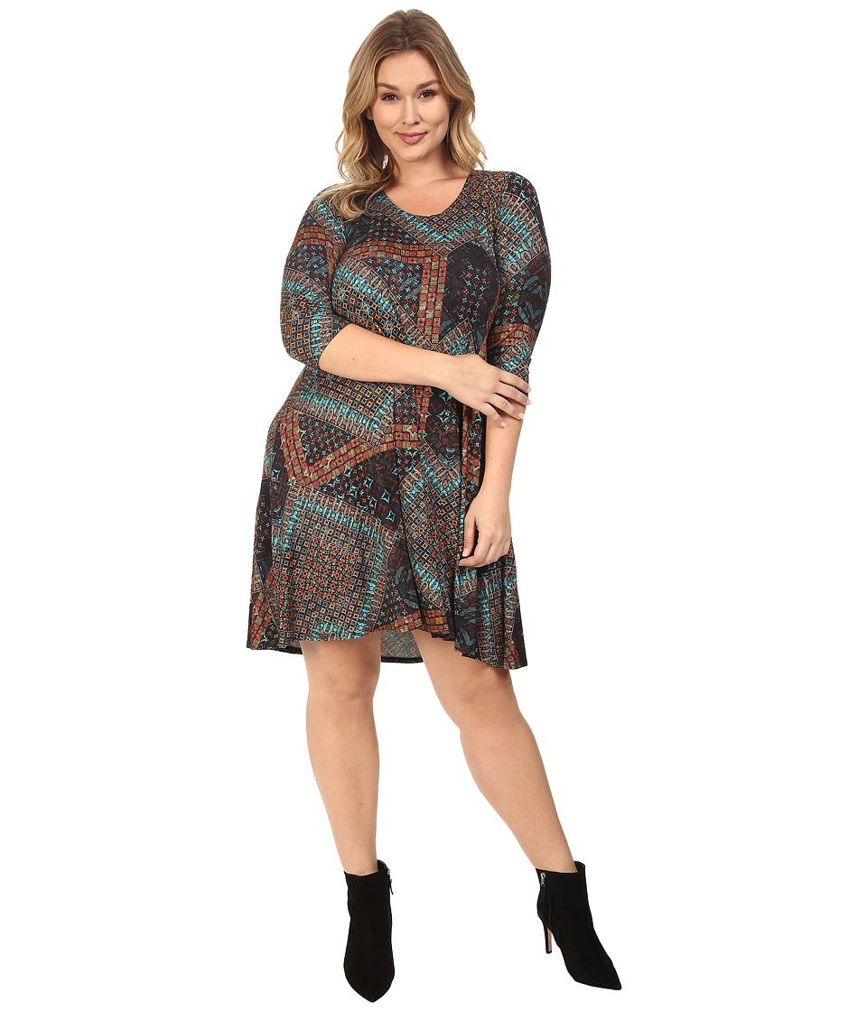 Karen Kane Plus - Plus Size Tile Mosaic Maggie Trapeze Dress (Print) Women's Dress