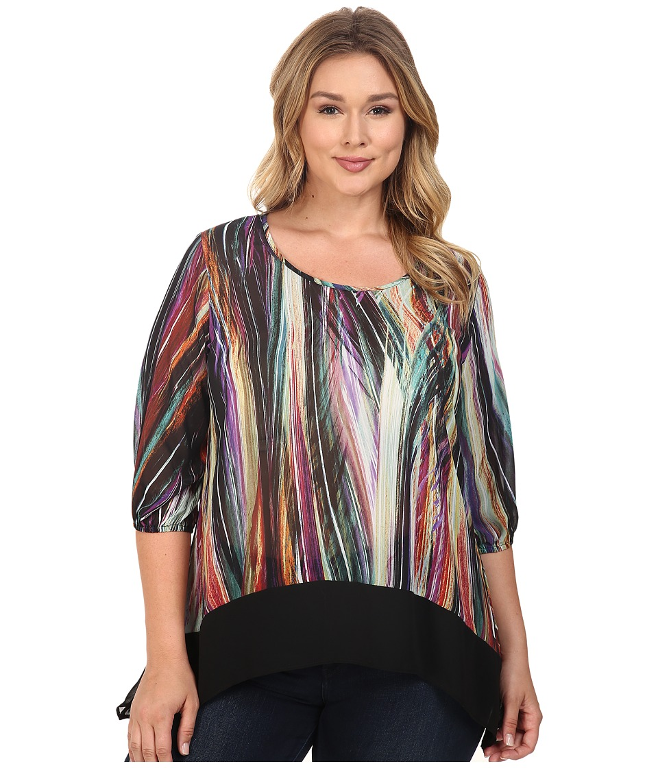 Karen Kane Plus - Plus Size Modern Art Sheer Hem Top (Print) Women's Blouse