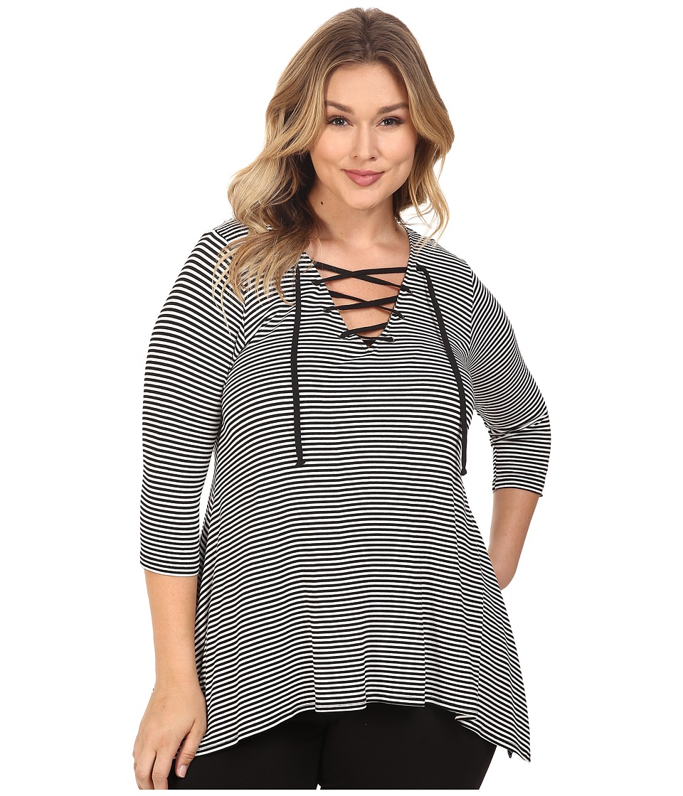 Karen Kane Plus - Plus Size Lace-Up Handkerchief Top (Black) Women's Blouse