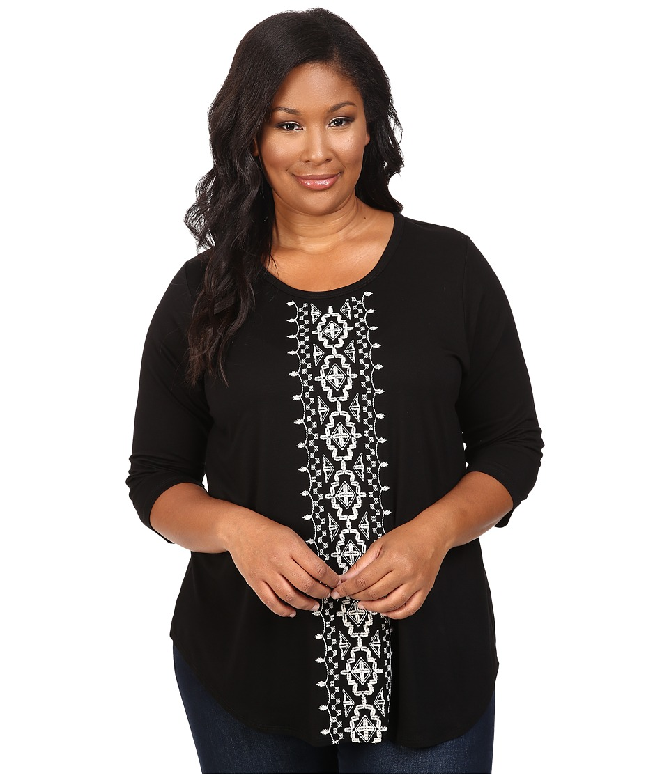 Karen Kane Plus - Plus Size 3/4 Sleeve Embroidered Top (Black) Women's Blouse