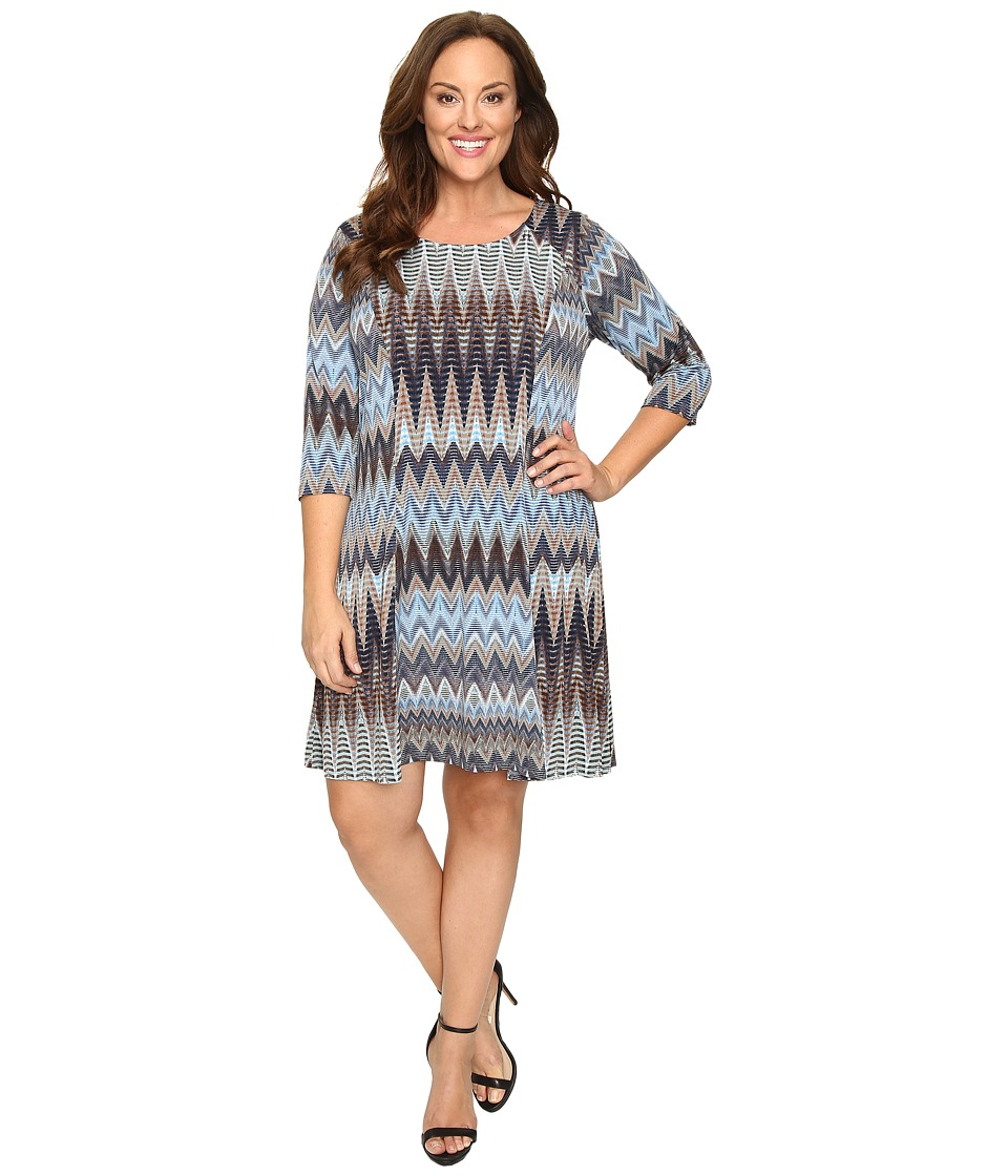 Karen Kane Plus - Plus Size Zigzag A-Line Dress (Print) Women's Dress