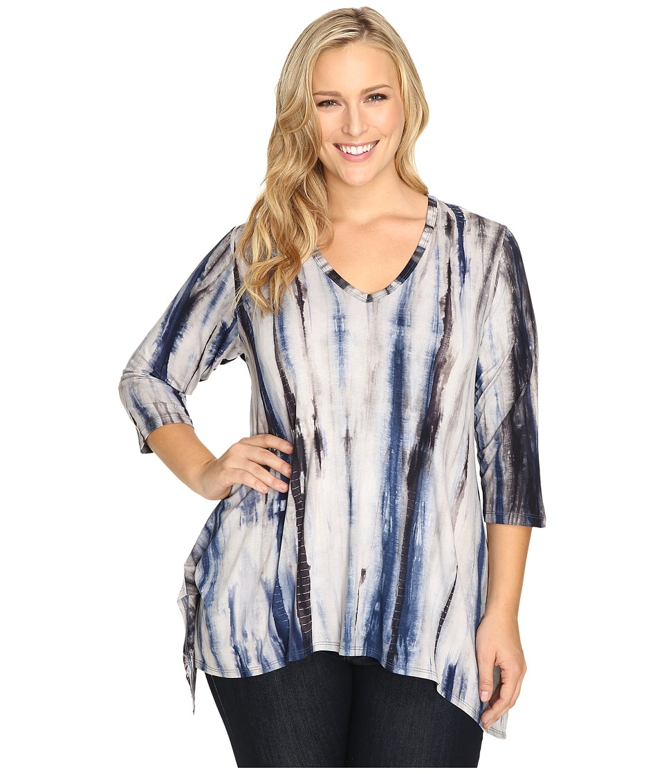 Karen Kane Plus - Plus Size Hi-Lo Hem Top (Blue) Women's Blouse