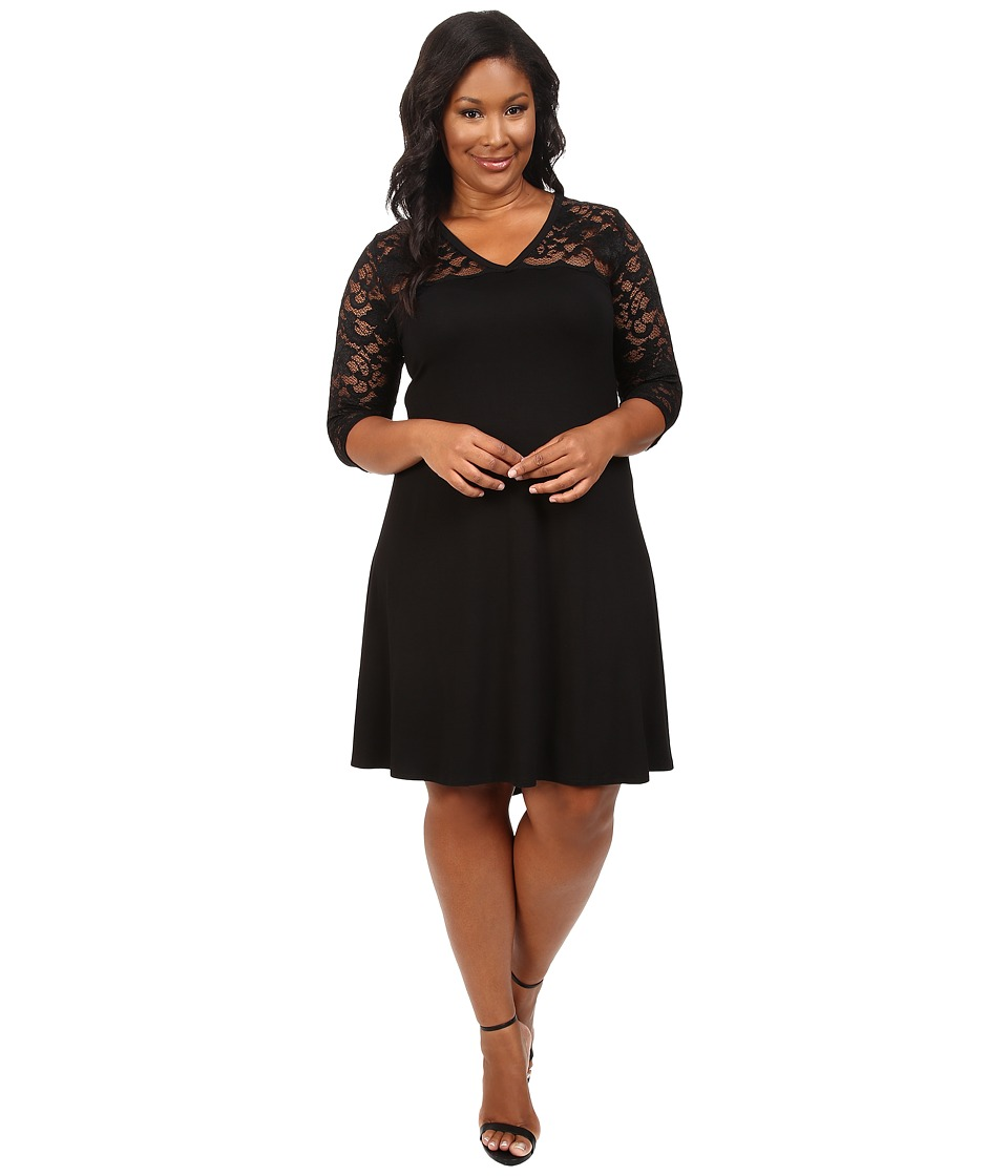 Karen Kane Plus - Plus Size V-Neck Lace Yoke Swing Dress (Black) Women's Dress