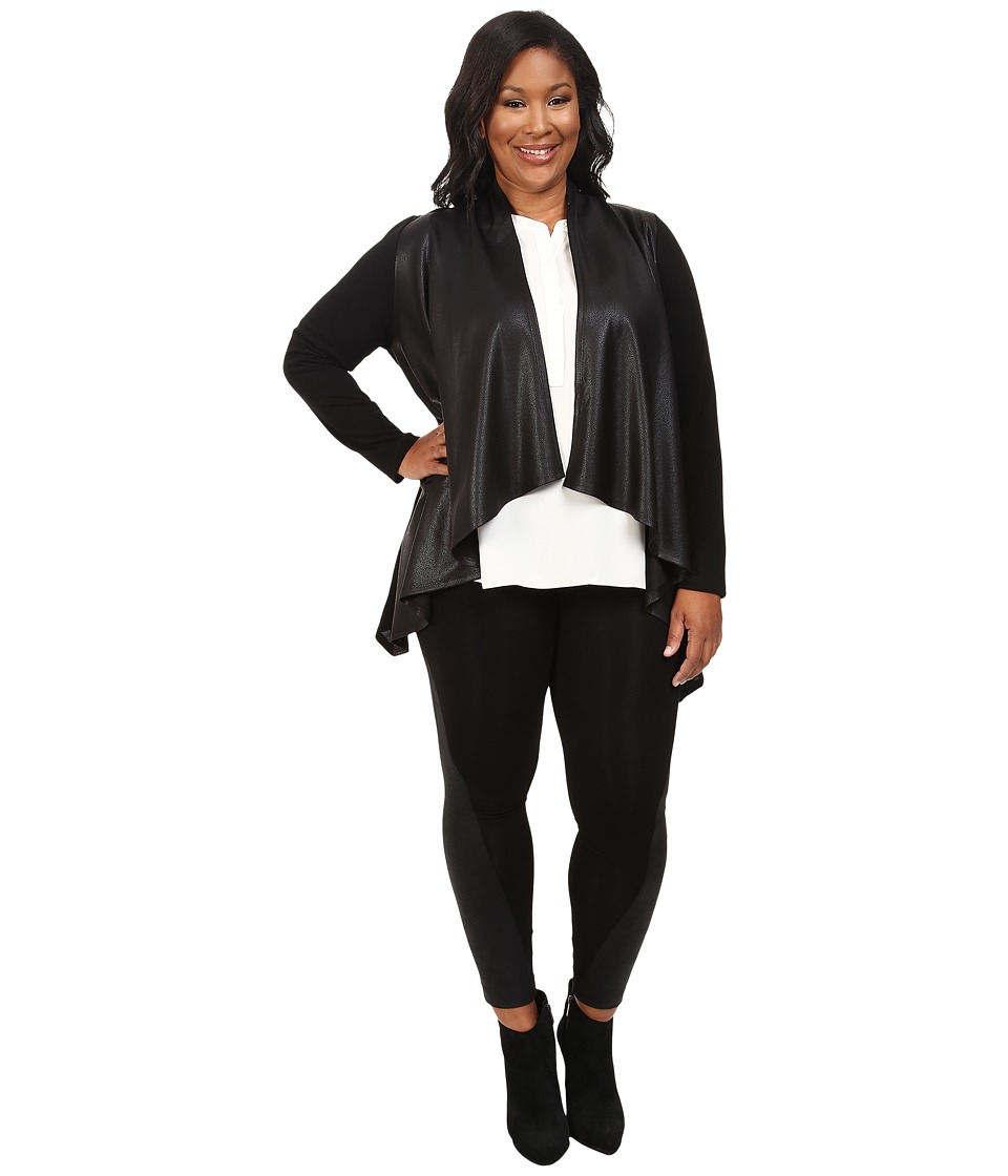 Karen Kane Plus - Plus Size Faux Leather Front Knit Jacket (Black) Women's Coat