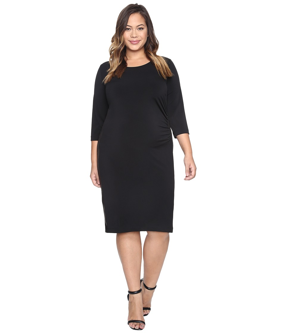 Karen Kane Plus - Plus Size Faux Leather Inset Dress (Black) Women's Dress
