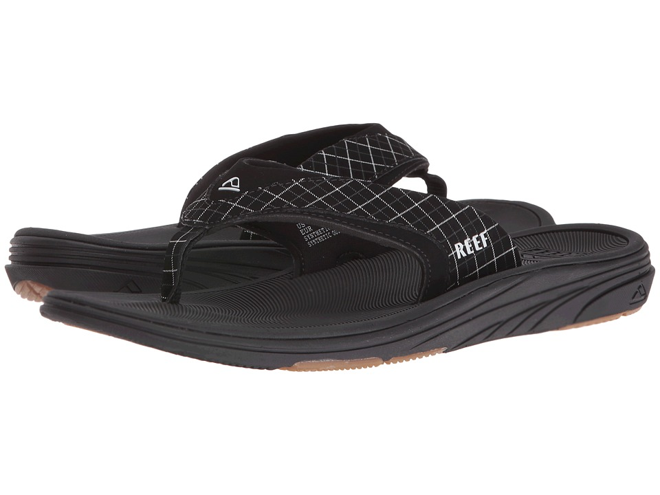 Reef - Modern Prints (Black/Black Plaid) Men's Sandals