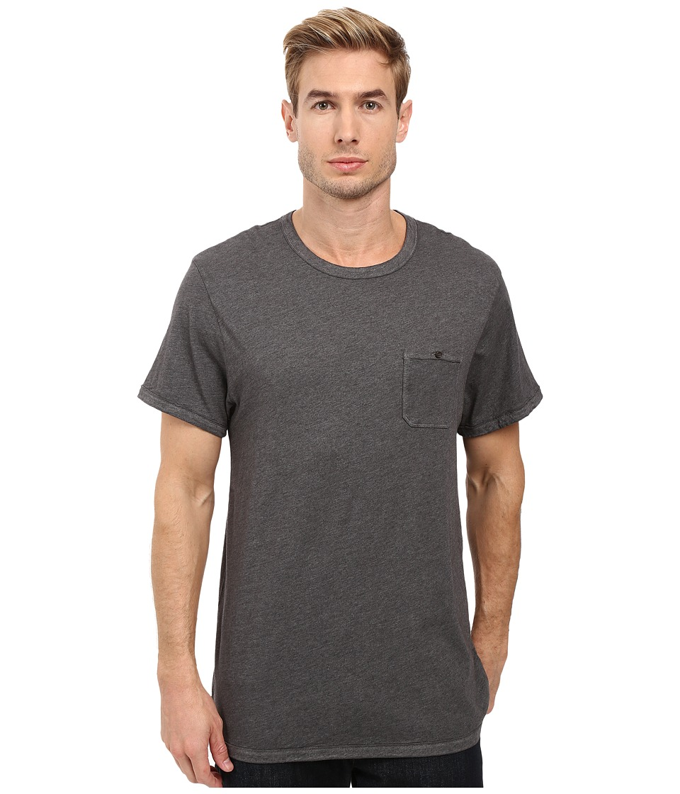 Alternative - Smoked Wash Organic Pima Raw Edge Pocket Tee (Oxford Grey Heather) Men's T Shirt