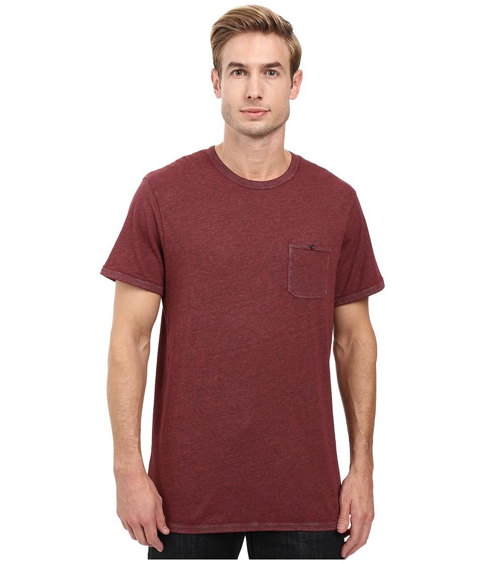 Alternative - Smoked Wash Organic Pima Raw Edge Pocket Tee (Smoked Carmine) Men's T Shirt