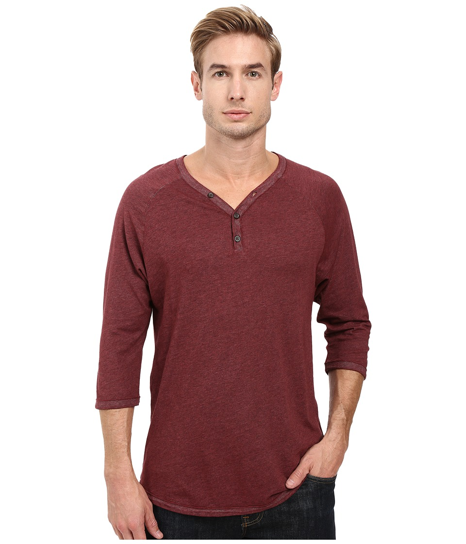 Alternative - Smoked Wash Organic Raw Edge 3/4 Henley (Smoked Carmine) Men's Long Sleeve Pullover