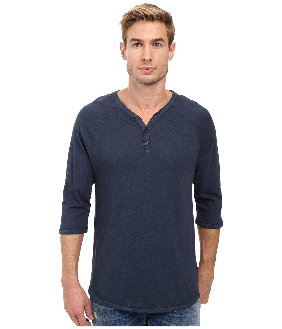 Alternative - Smoked Wash Organic Raw Edge 3/4 Henley (Smoked Sapphire) Men's Long Sleeve Pullover