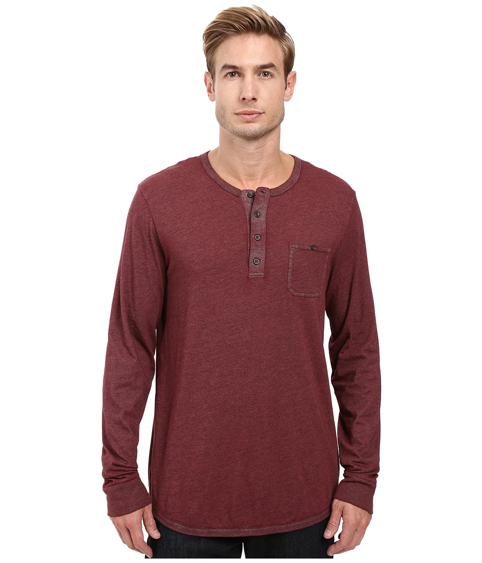 Alternative - Smoked Wash Organic Pima Raw Edge Henley (Smoked Carmine) Men's Long Sleeve Pullover