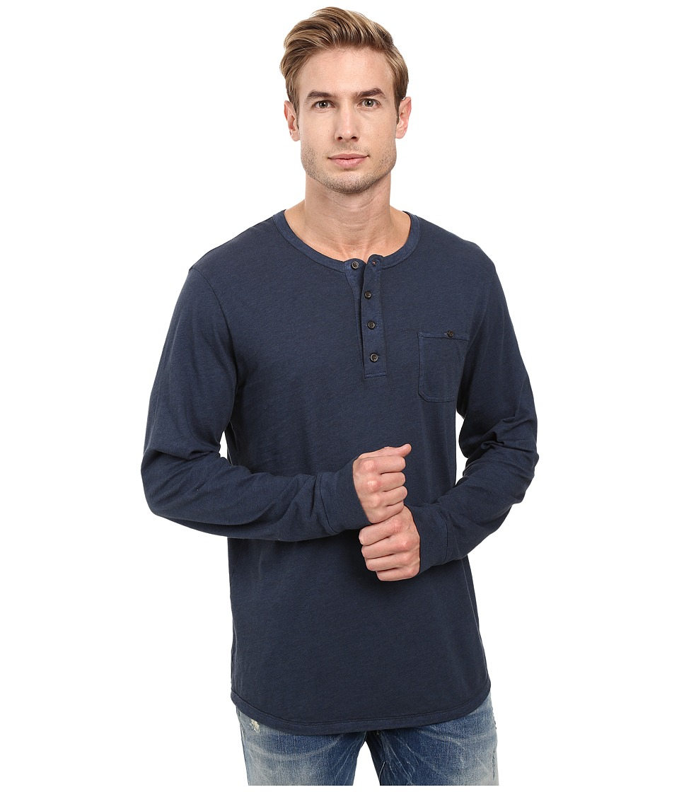 Alternative - Smoked Wash Organic Pima Raw Edge Henley (Smoked Sapphire) Men's Long Sleeve Pullover