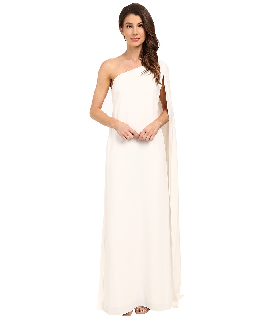JILL JILL STUART - One Shoulder Cape 2-Ply Crepe Gown (Off-White) Women's Dress