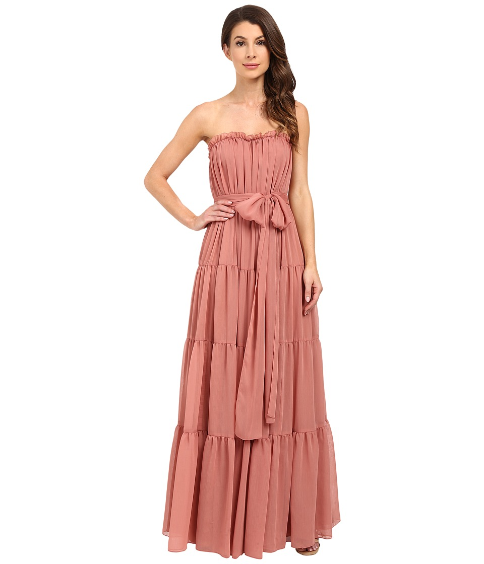 JILL JILL STUART - Strapless Crinkle Chiffon Gown w/ Tie at Waist (Desert Rose) Women's Dress