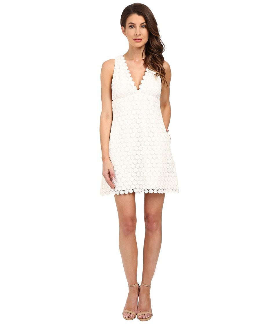 JILL JILL STUART Deep V Lace Short Dress (Off-White) Women