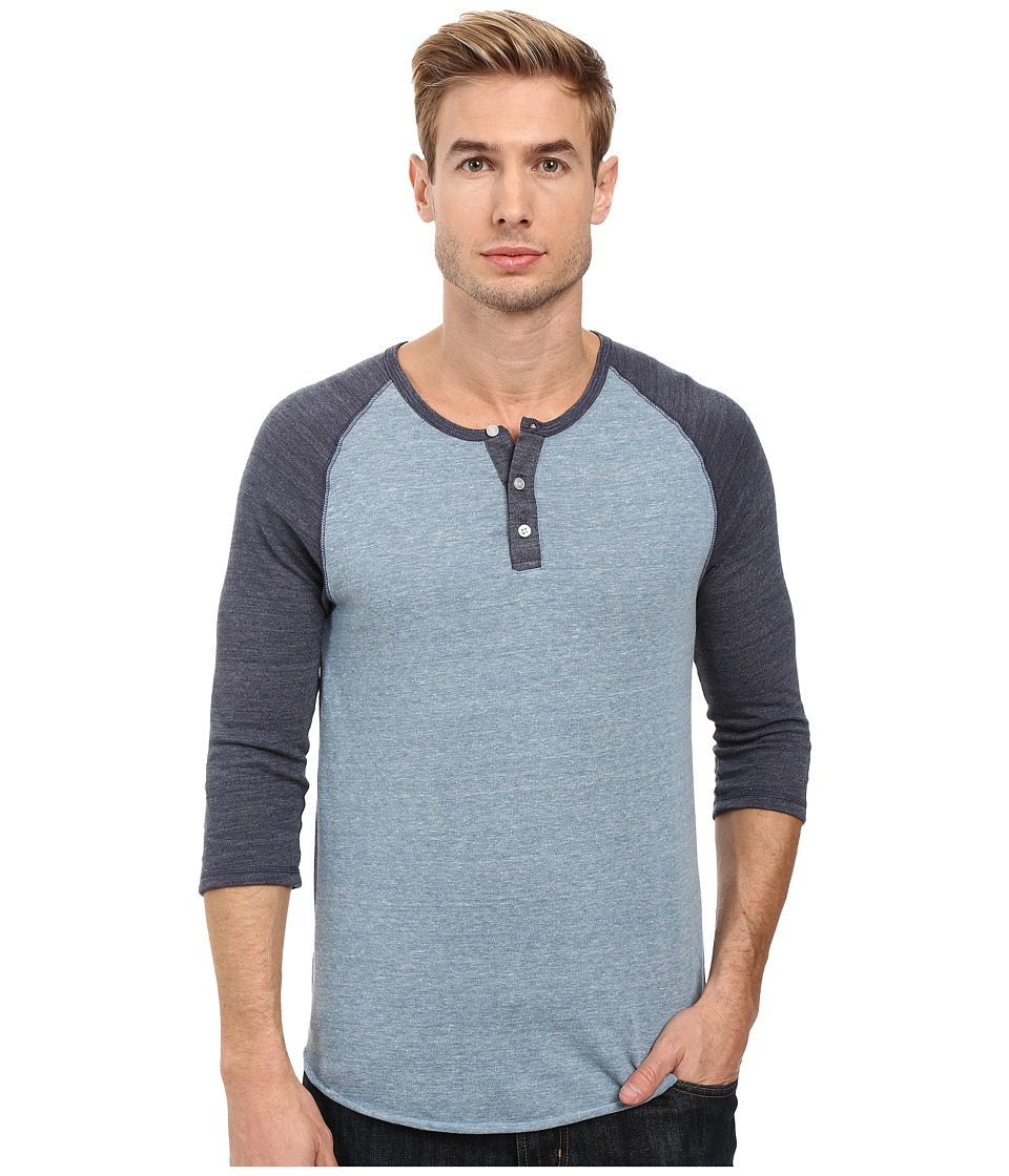 Alternative - 3/4 Raglan Henley (Eco Greencast Indigo/Eco True Navy) Men's Long Sleeve Pullover
