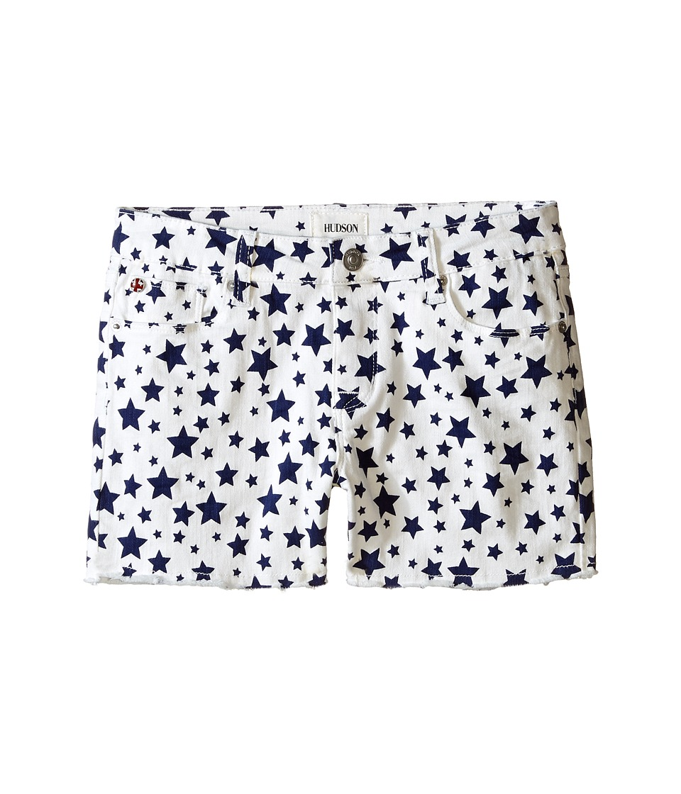 Hudson Kids - 3 Fray Printed Ava Shorts in White/Electric Blue (Big Kids) (White/Electric Blue) Girl's Shorts