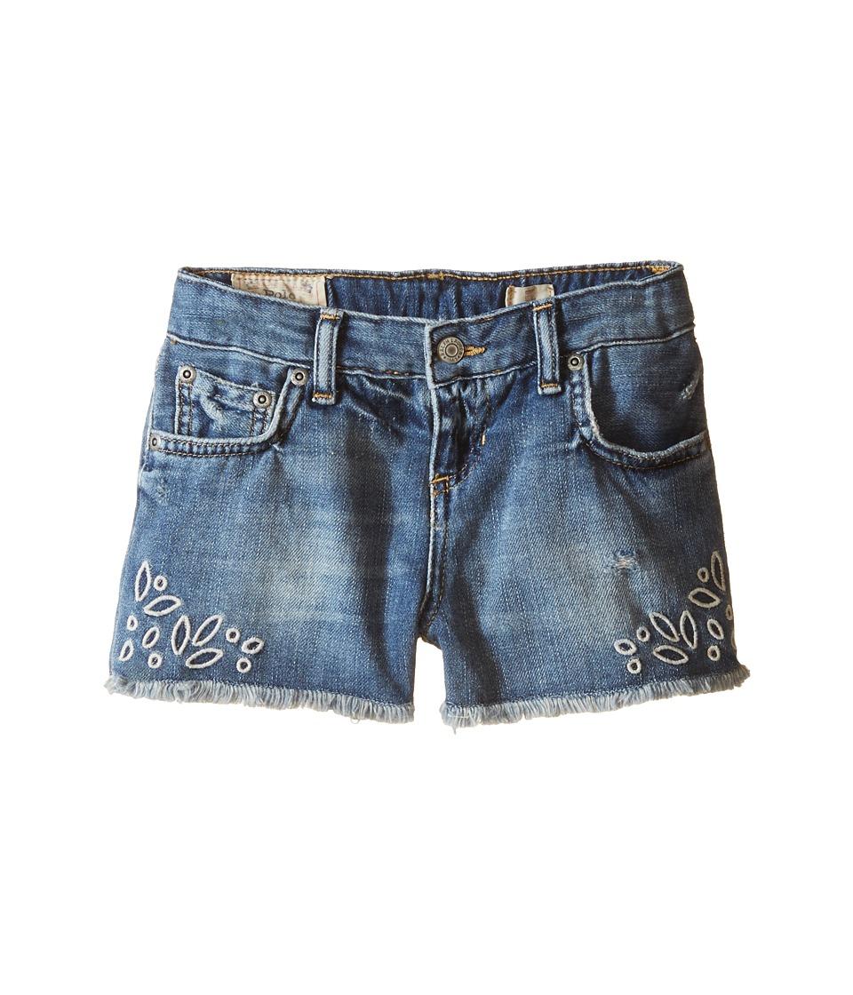 Polo Ralph Lauren Kids - Eyelet Denim Shorts (Little Kids) (Ariannas Wash) Girl's Shorts