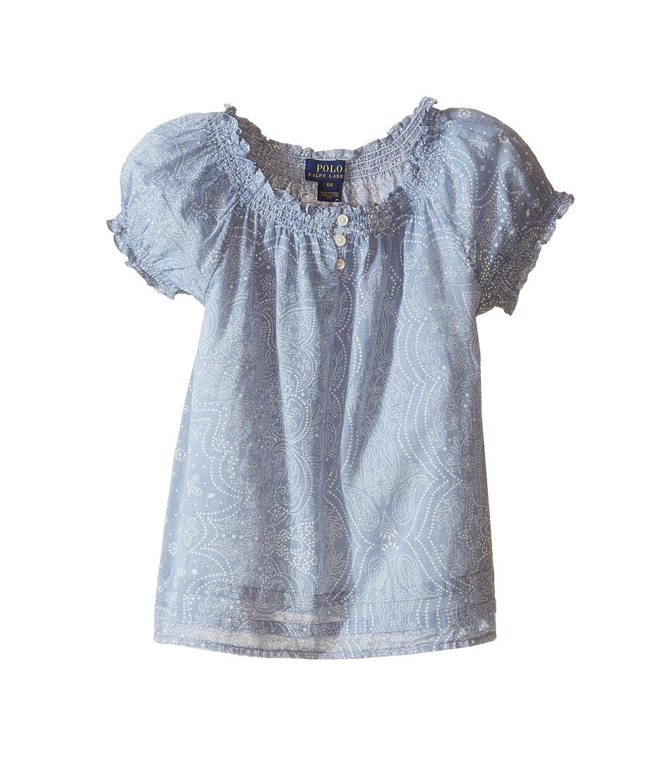 Polo Ralph Lauren Kids - Gauze Boho Top (Little Kids) (Blue/Cream) Girl's Clothing