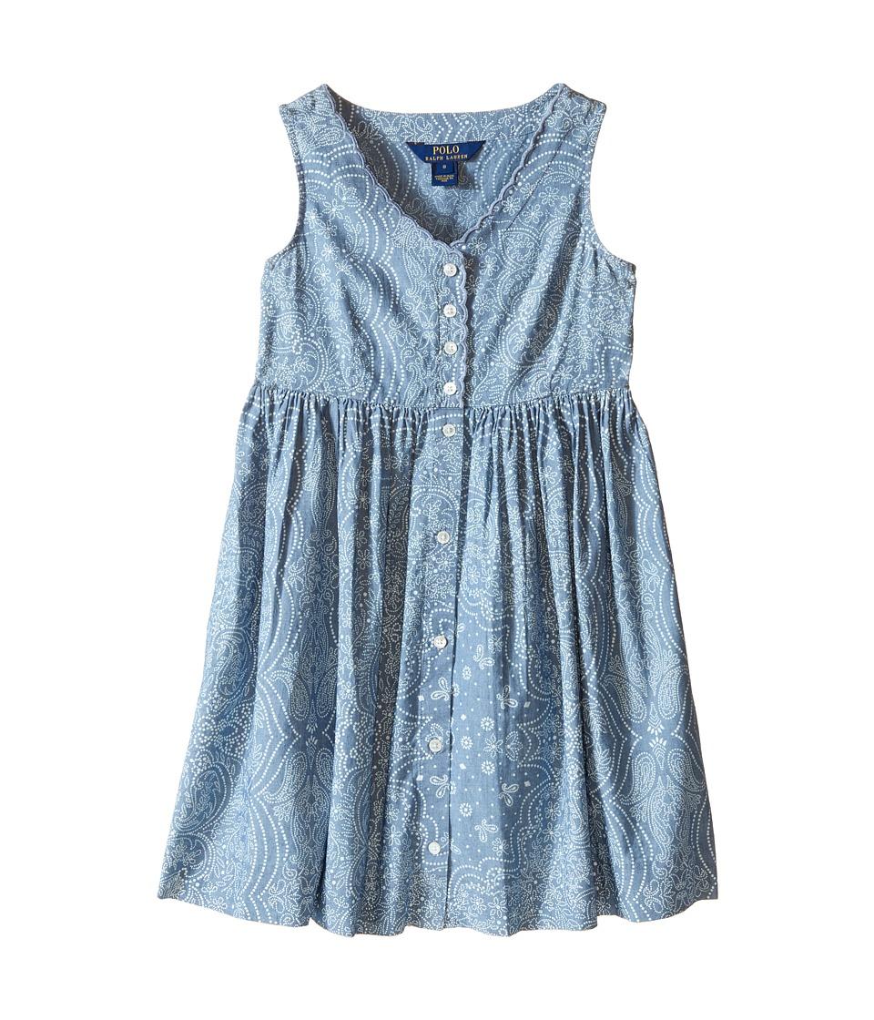 Polo Ralph Lauren Kids - Chambray Dress (Big Kids) (Indigo/Cream) Girl's Dress
