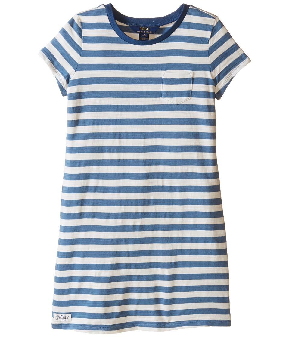 Polo Ralph Lauren Kids - Jersey Stripe Dress (Little Kids/Big Kids) (Marine Blue/Baxter Cream) Girl's Dress