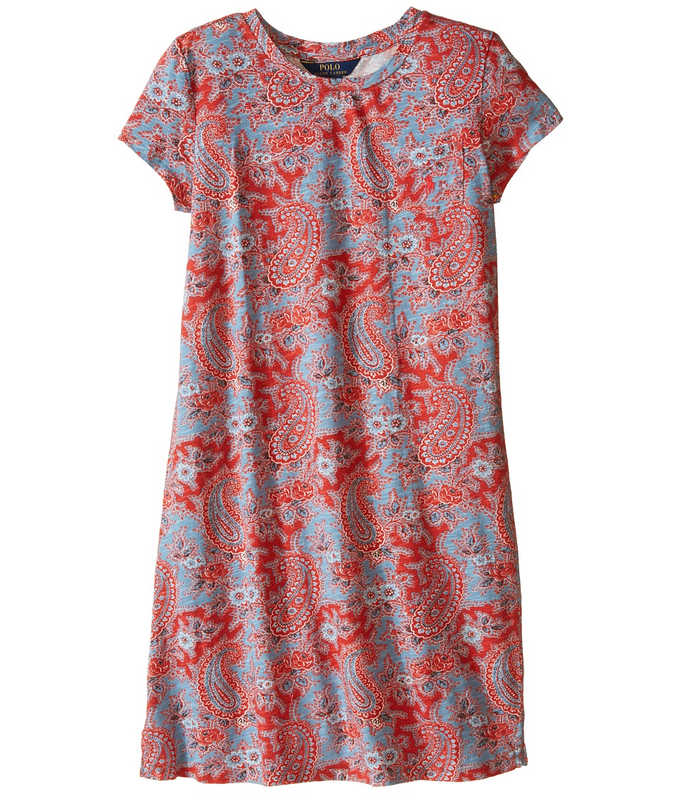 Polo Ralph Lauren Kids - Jersey Paisley Dress (Little Kids/Big Kids) (Red/Blue Multi) Girl's Dress