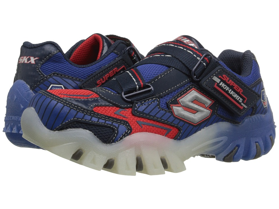 SKECHERS KIDS - Street Lightz 90479L Lights (Little Kid) (Navy/Red) Boys Shoes
