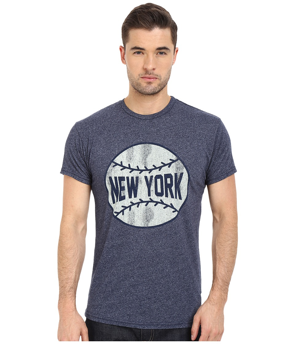 The Original Retro Brand - New York Basball Mocktwist Short Sleeve Tee (Mock Twist Navy) Men's T Shirt