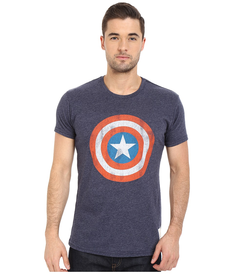 The Original Retro Brand - Captain America Short Sleeve Tri-Blend Tee (Streaky Navy) Men's T Shirt