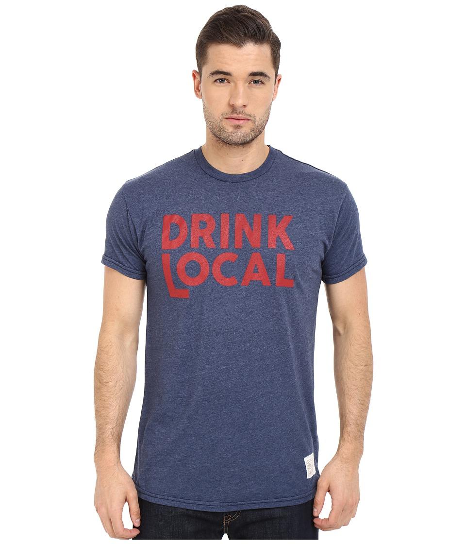 The Original Retro Brand - Drink Local Heather Short Sleeve Tee (Heather Navy) Men's T Shirt