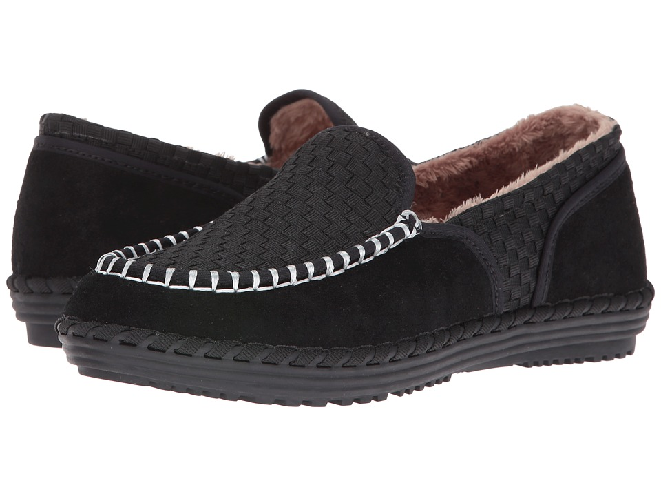 bernie mev. - Stitched Fuzzy (Black) Women's Slip on Shoes