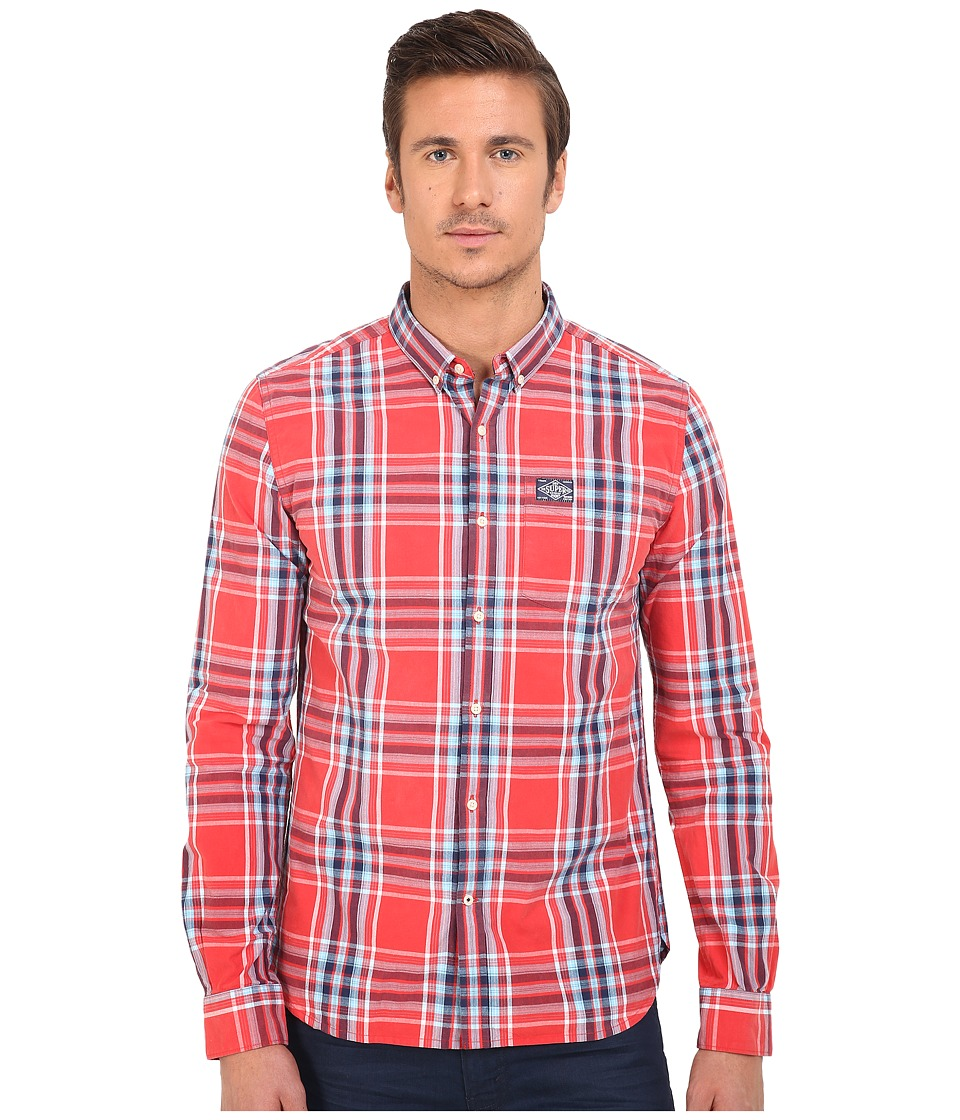 Superdry - Washbasket Button Down Long Sleeve Shirt (Electric Red Window Pane) Men's Long Sleeve Button Up
