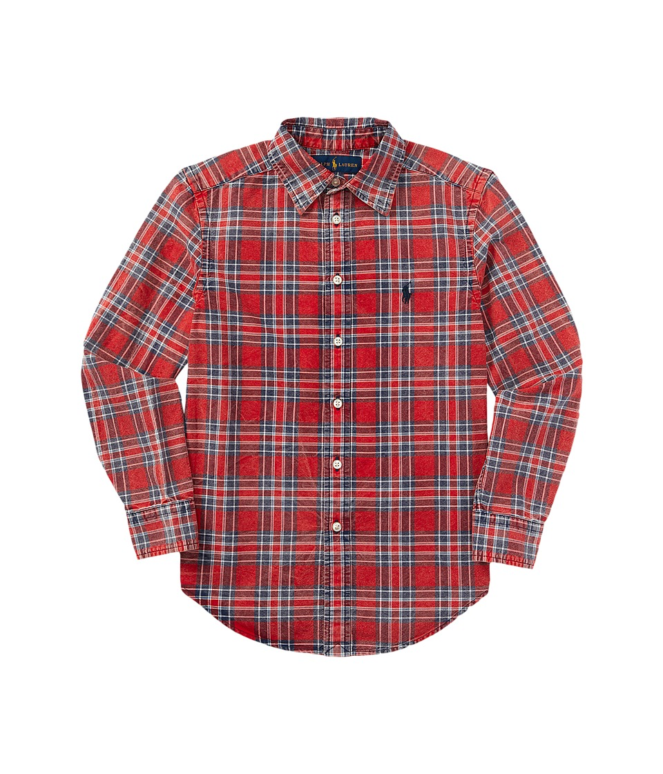 Polo Ralph Lauren Kids - Yarn-Dyed Oxford Shirt (Toddler) (Red/Navy Multi) Boy's Long Sleeve Button Up