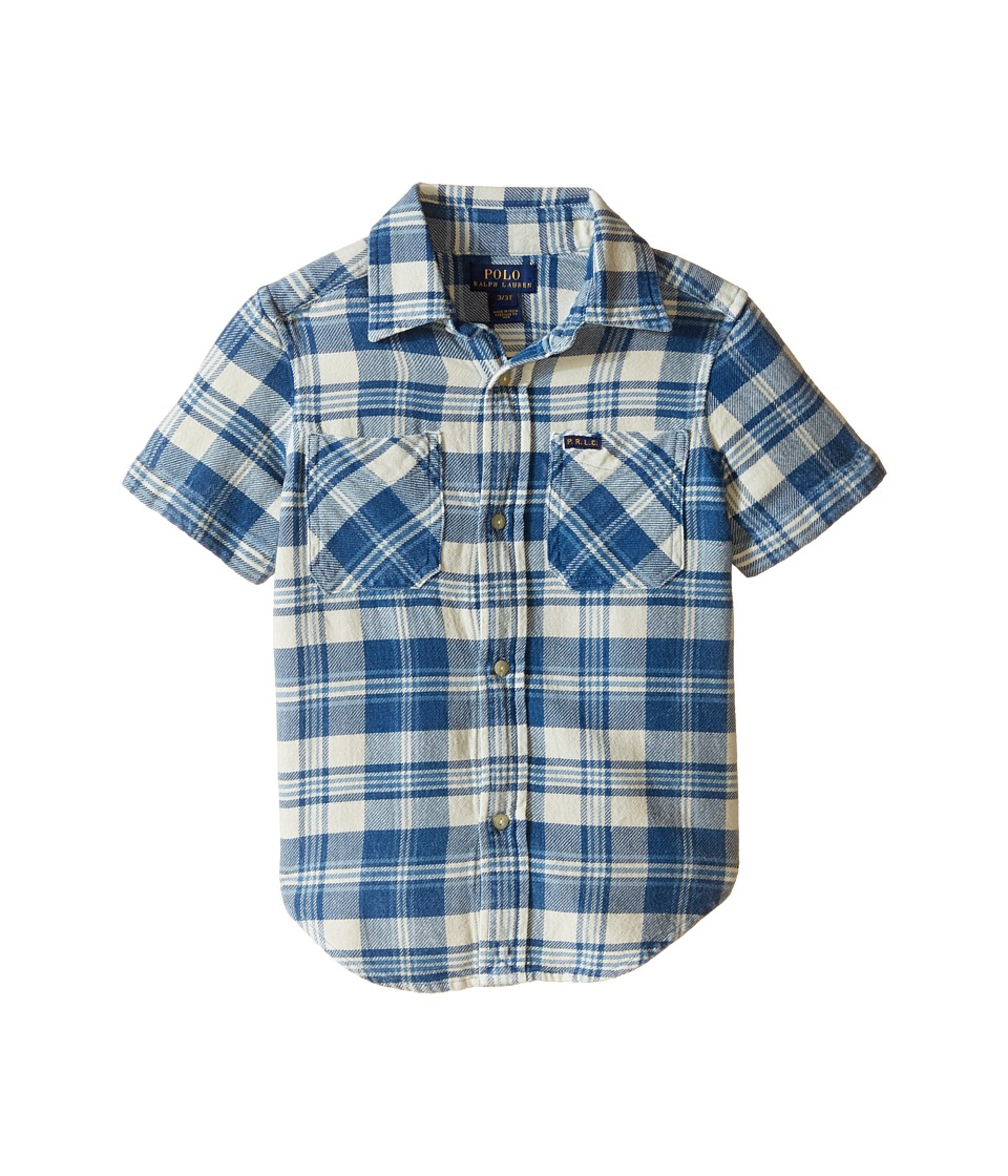 Polo Ralph Lauren Kids - Twill Shirt (Toddler) (Cream/Indigo Multi) Boy's Long Sleeve Button Up