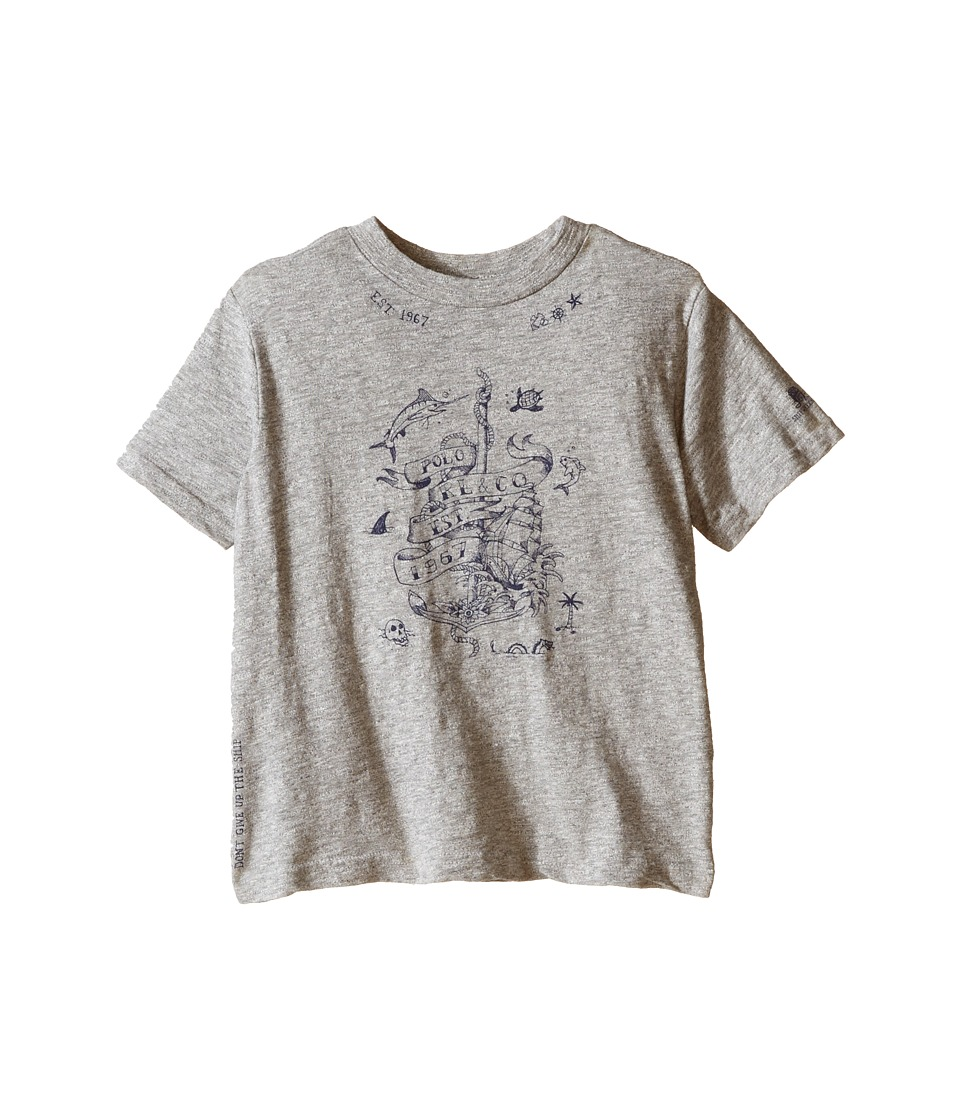 Polo Ralph Lauren Kids - Jersey Graphic Crew Neck T-Shirt (Toddler) (Surfer Grey Heather) Boy's T Shirt
