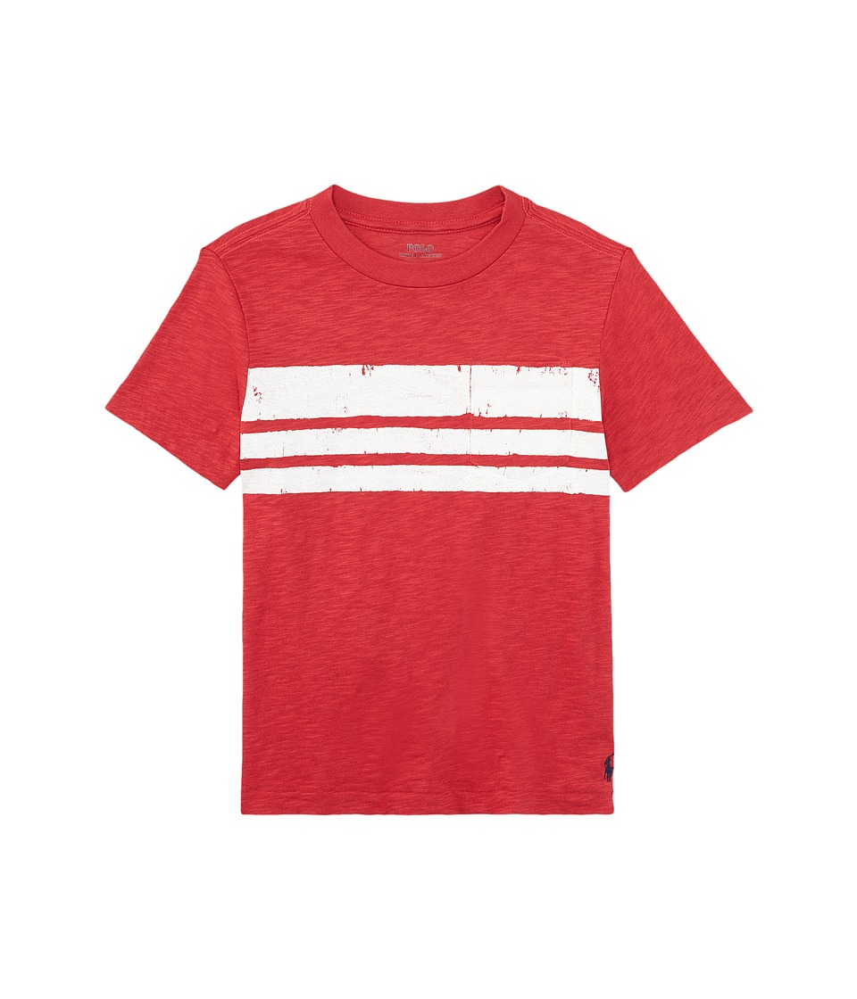 Polo Ralph Lauren Kids - Slub Jersey Stripe Tee (Toddler) (Sedona Orange) Boy's T Shirt