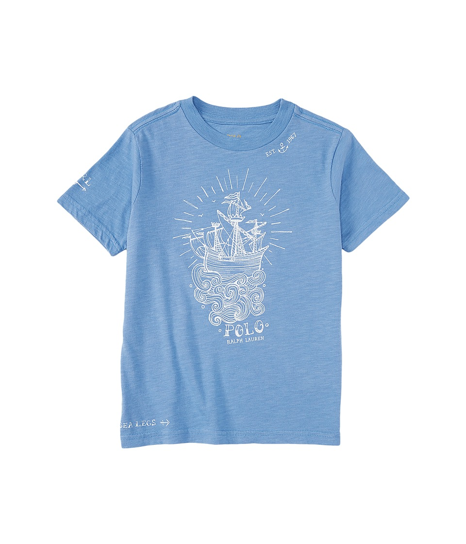Polo Ralph Lauren Kids - Jersey Graphic Crew Neck T-Shirt (Toddler) (Blue Water) Boy's T Shirt
