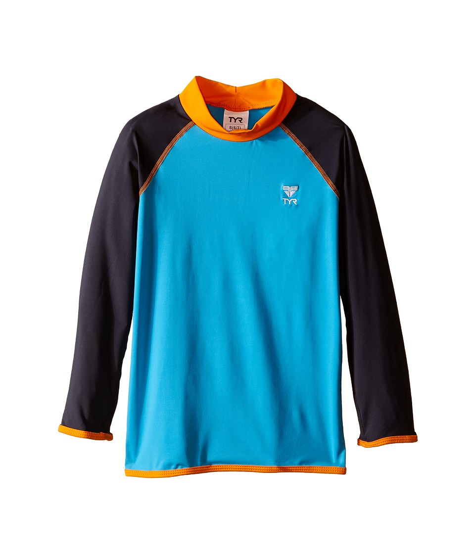TYR Kids Solid Rashguard (Little Kids/Big Kids) (Blue/Orange) Boy