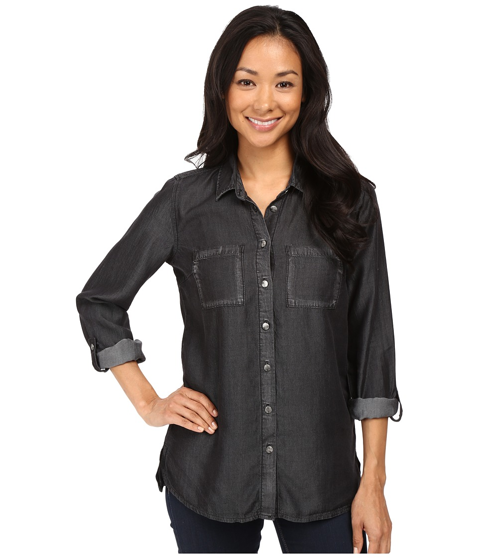 KUT from the Kloth - Alexa High-Low Long Sleeve Button Down (Black) Women's Long Sleeve Button Up